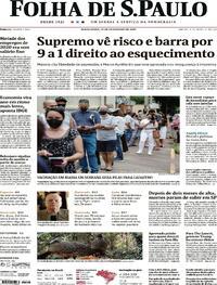 Capa do jornal Folha de S.Paulo 12/02/2021