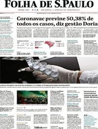 Capa do jornal Folha de S.Paulo 13/01/2021