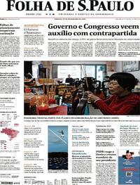 Capa do jornal Folha de S.Paulo 13/02/2021