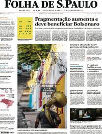 Capa do jornal Folha de S.Paulo 14/02/2021