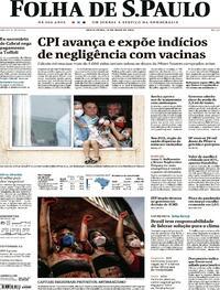 Capa do jornal Folha de S.Paulo 14/05/2021