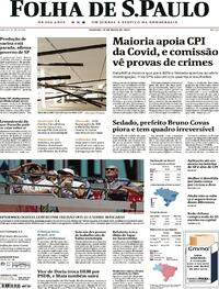 Capa do jornal Folha de S.Paulo 15/05/2021