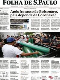 Capa do jornal Folha de S.Paulo 16/01/2021