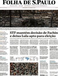 Capa do jornal Folha de S.Paulo 16/04/2021