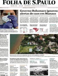 Capa do jornal Folha de S.Paulo 17/01/2021