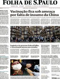 Capa do jornal Folha de S.Paulo 19/01/2021