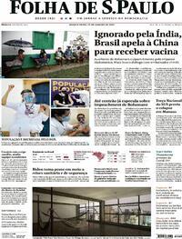Capa do jornal Folha de S.Paulo 20/01/2021