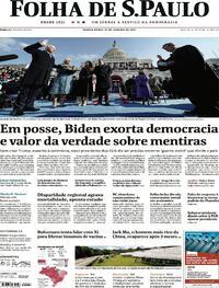 Capa do jornal Folha de S.Paulo 21/01/2021