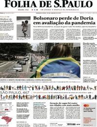 Capa do jornal Folha de S.Paulo 25/01/2021