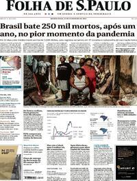 Capa do jornal Folha de S.Paulo 25/02/2021
