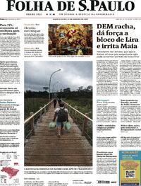 Capa do jornal Folha de S.Paulo 27/01/2021