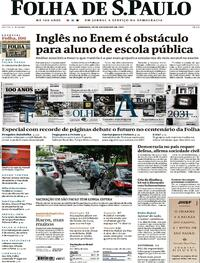 Capa do jornal Folha de S.Paulo 28/02/2021