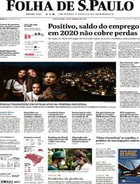 Capa do jornal Folha de S.Paulo 29/01/2021