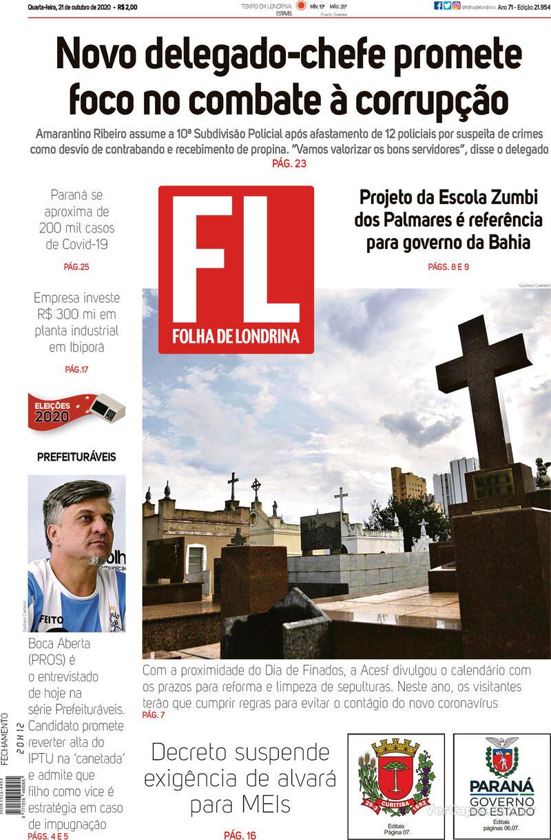 Capa do jornal Folha Londrina 21/10/2020