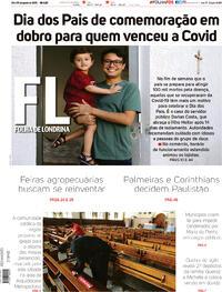 Capa do jornal Folha Londrina 08/08/2020