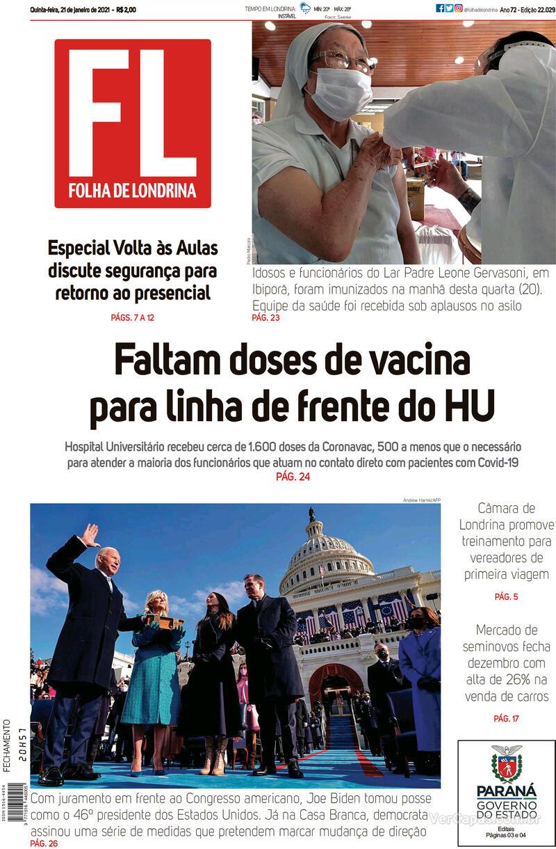 Capa do jornal Folha Londrina 21/01/2021