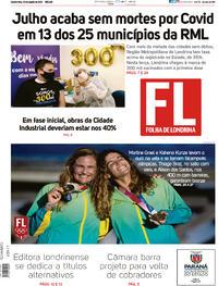 Capa do jornal Folha Londrina 04/08/2021
