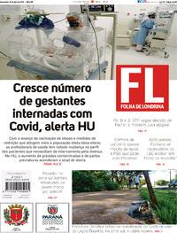 Capa do jornal Folha Londrina 16/04/2021