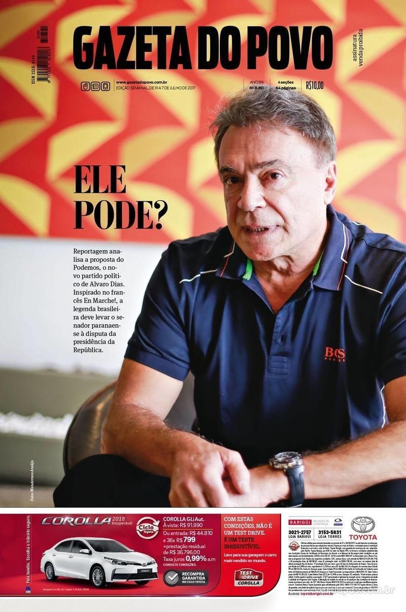 Capa do jornal Gazeta do Povo 01/07/2017