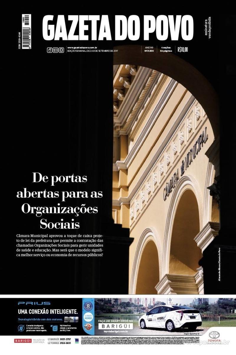 Capa do jornal Gazeta do Povo 02/09/2017