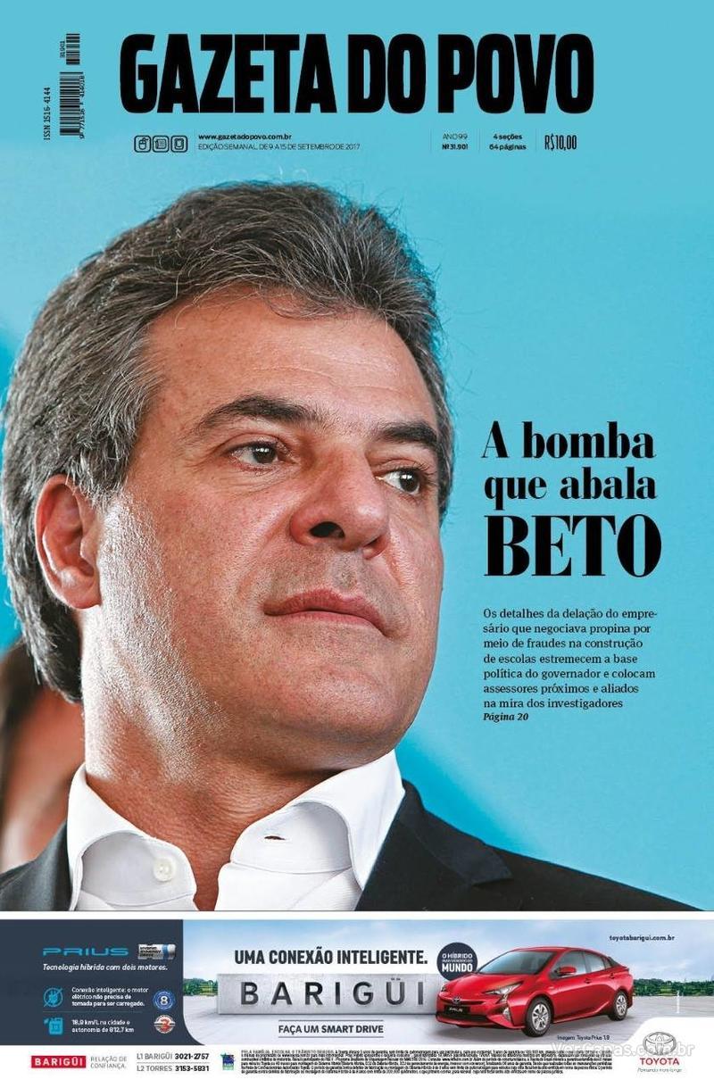 Capa do jornal Gazeta do Povo 09/09/2017