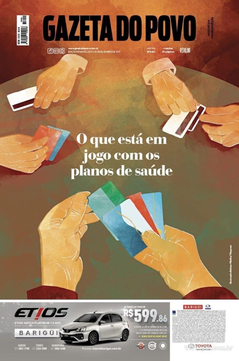 Capa do jornal Gazeta do Povo 09/12/2017