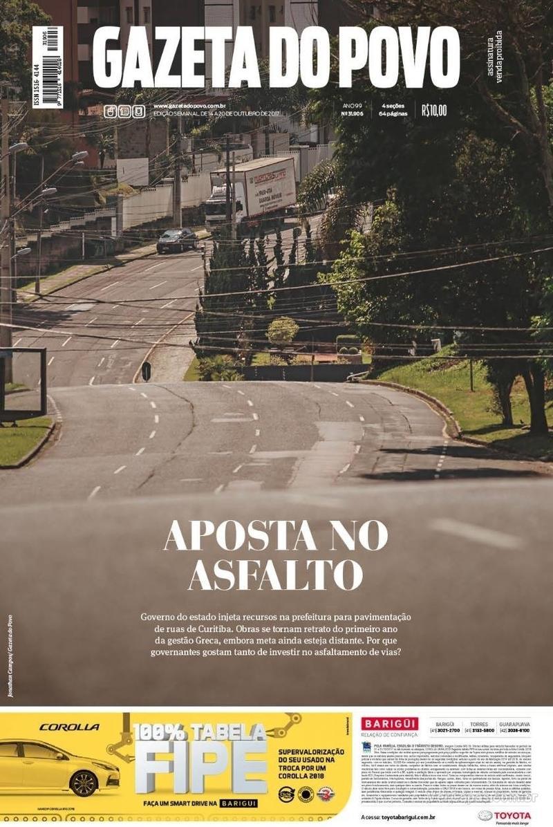 Capa do jornal Gazeta do Povo 14/10/2017