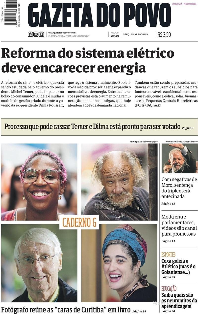 Capa do jornal Gazeta do Povo 16/05/2017