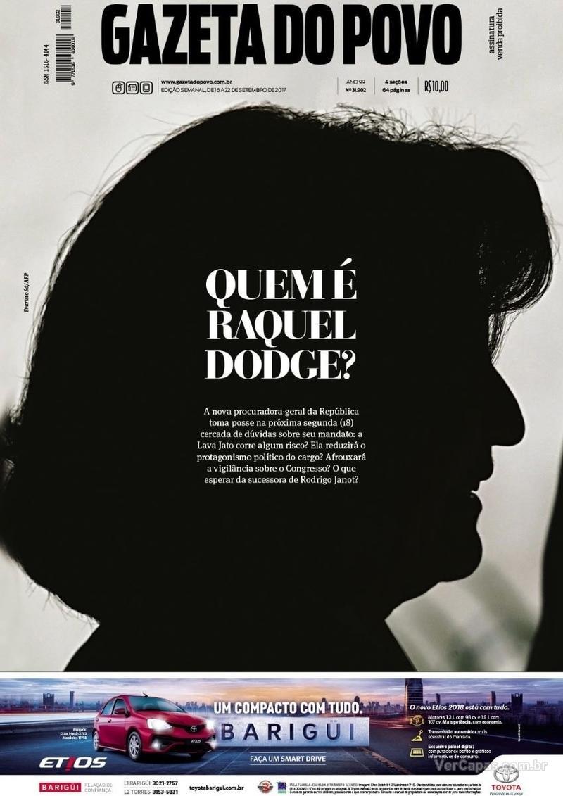 Capa do jornal Gazeta do Povo 16/09/2017