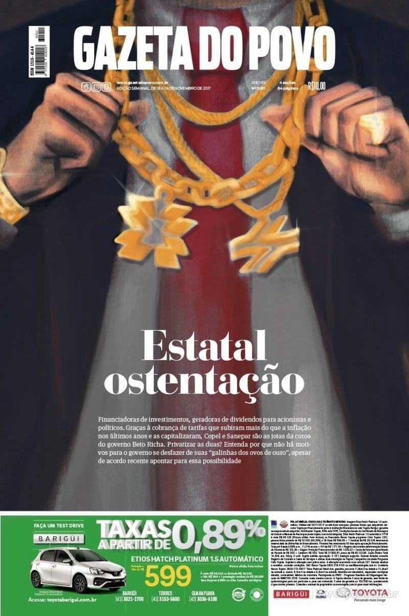 Capa do jornal Gazeta do Povo 18/11/2017