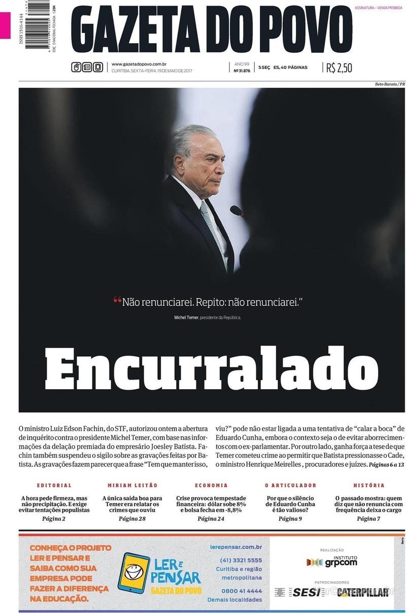 Capa do jornal Gazeta do Povo 19/05/2017