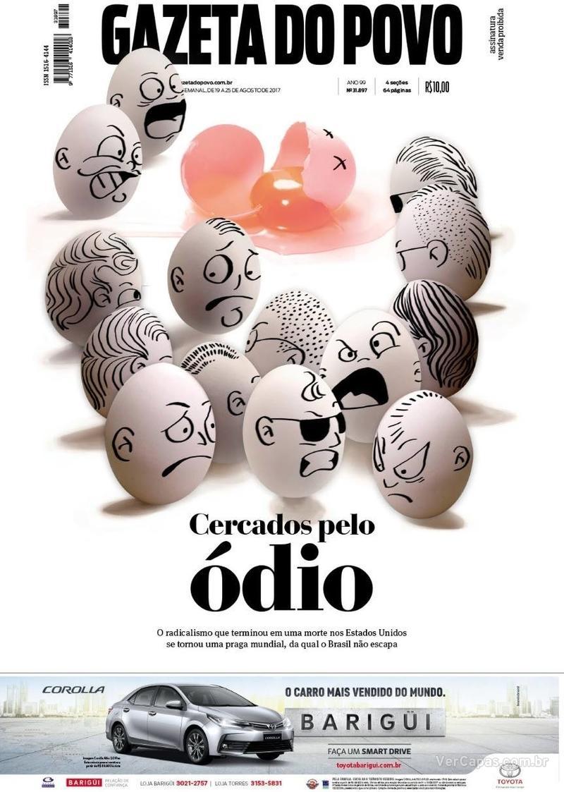 Capa do jornal Gazeta do Povo 19/08/2017