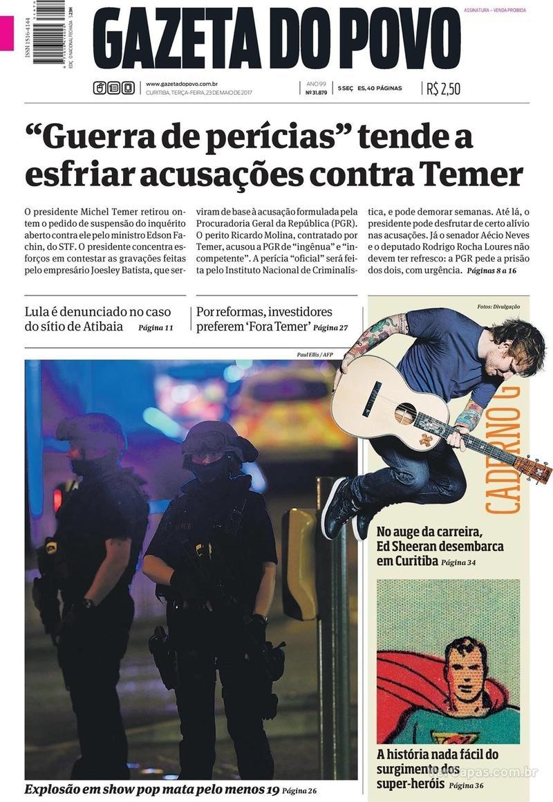 Capa do jornal Gazeta do Povo 23/05/2017
