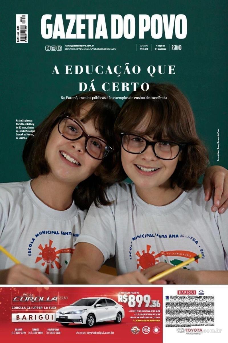 Capa do jornal Gazeta do Povo 23/12/2017