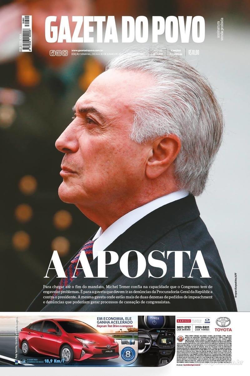 Capa do jornal Gazeta do Povo 24/06/2017
