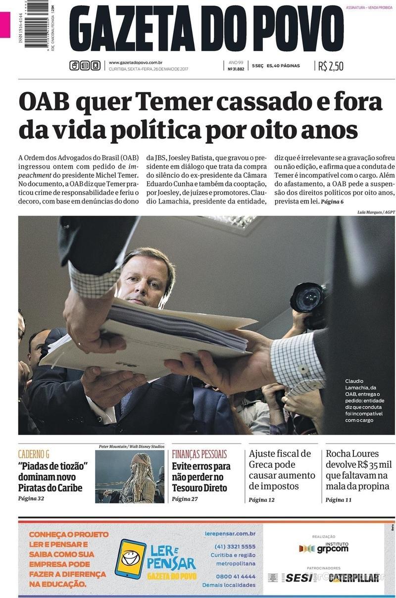 Capa do jornal Gazeta do Povo 26/05/2017