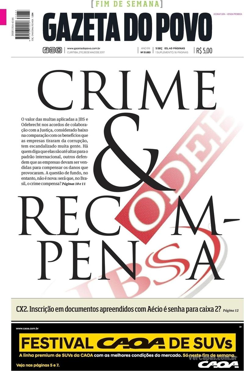 Capa do jornal Gazeta do Povo 27/05/2017