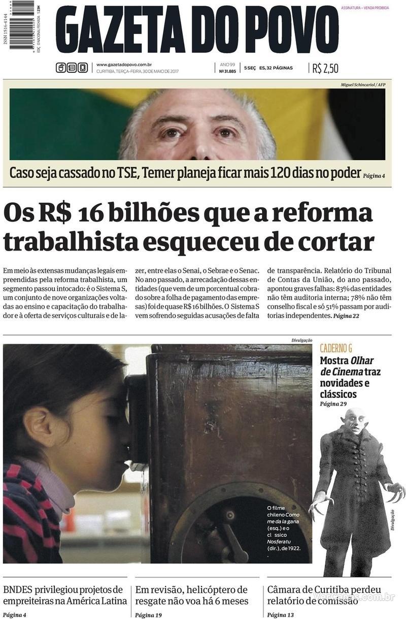 Capa do jornal Gazeta do Povo 30/05/2017