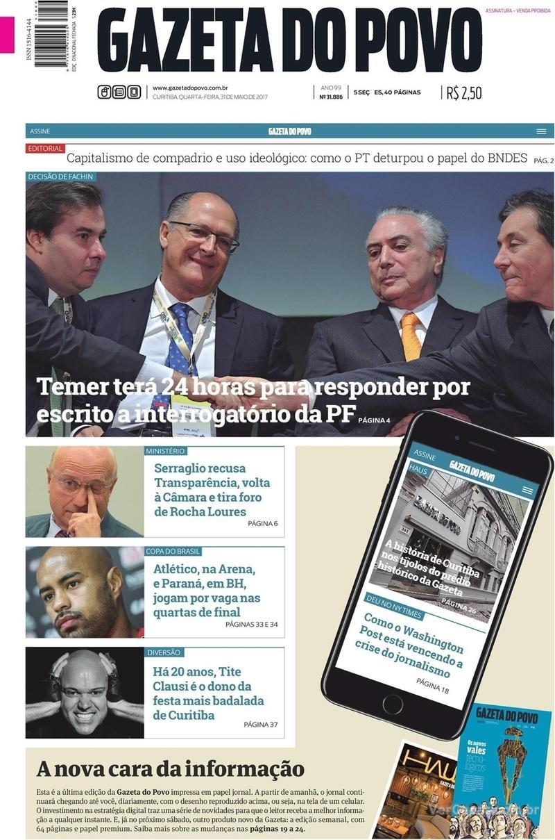 Capa do jornal Gazeta do Povo 31/05/2017