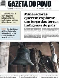 Capa do jornal Gazeta do Povo 17/05/2017