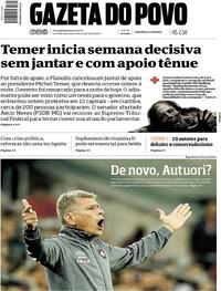 Capa do jornal Gazeta do Povo 22/05/2017
