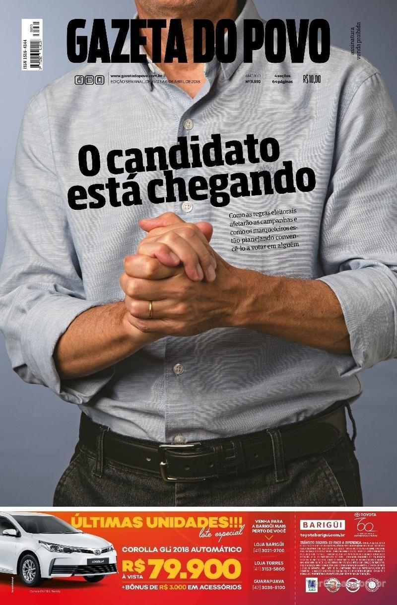 Capa do jornal Gazeta do Povo 31/03/2018