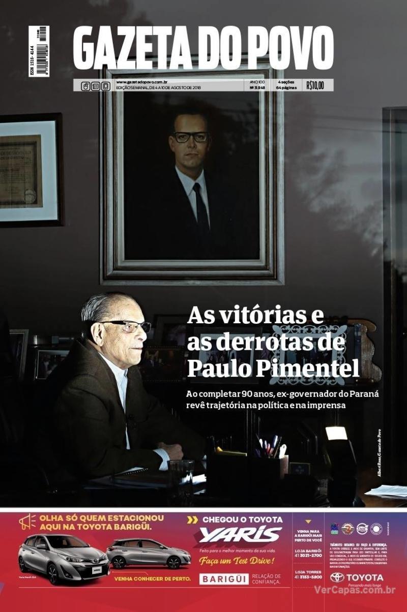 Capa jornal Gazeta do Povo 04/08/2018