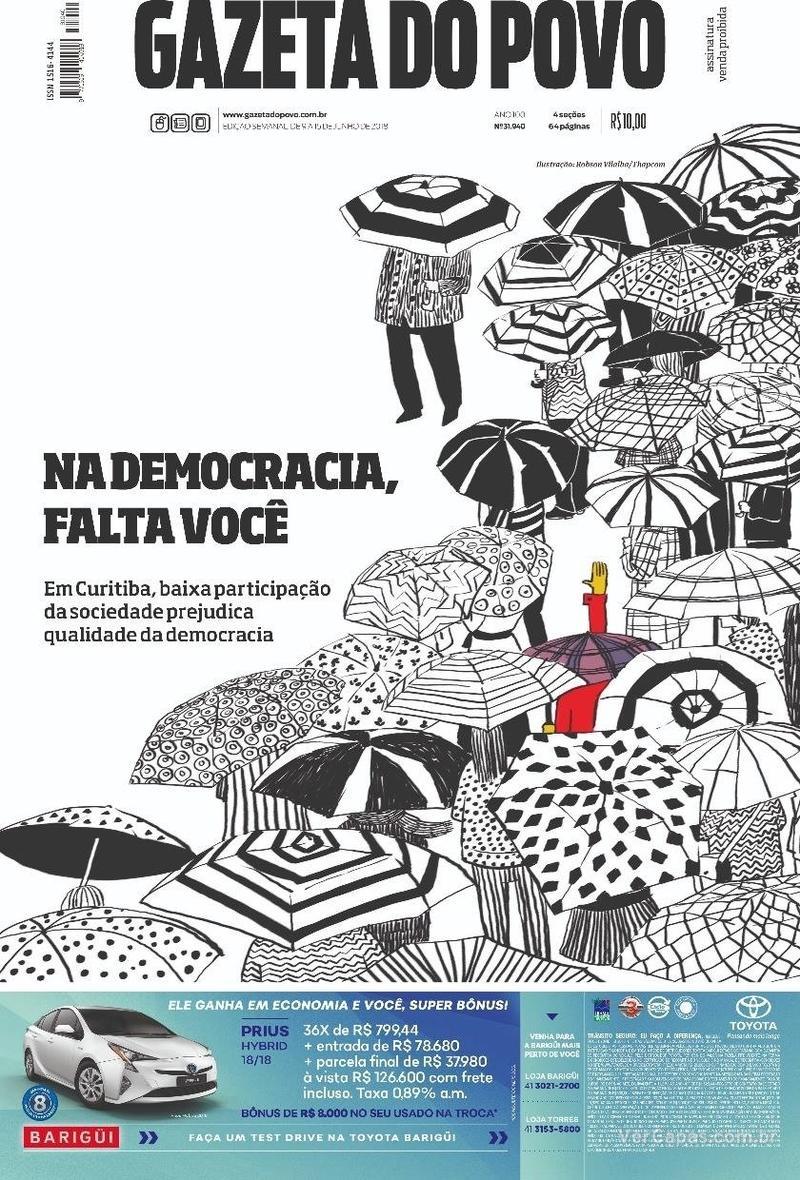 Capa do jornal Gazeta do Povo 08/06/2018