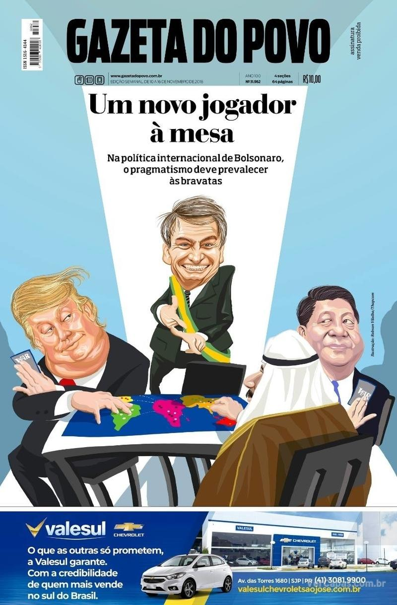 Capa jornal Gazeta do Povo 10/11/2018