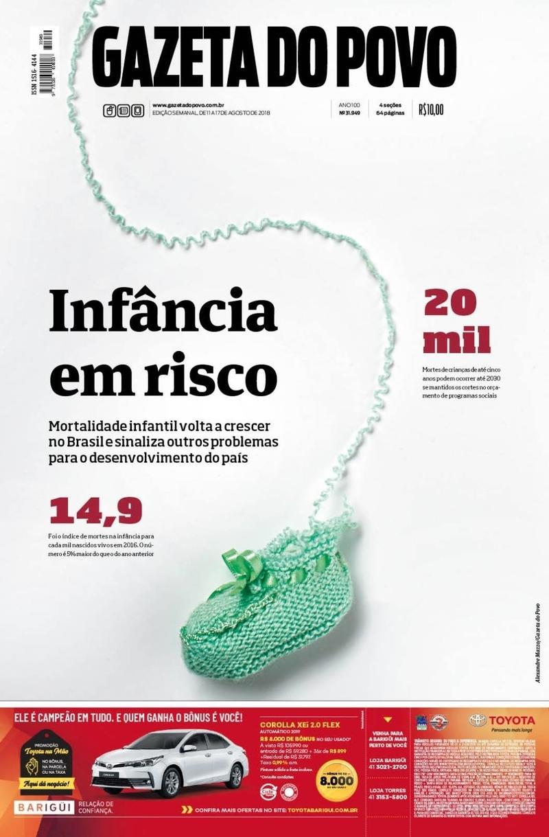 Capa do jornal Gazeta do Povo 11/08/2018