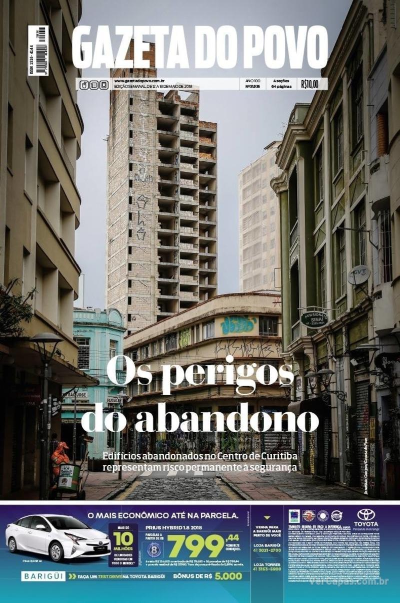 Capa do jornal Gazeta do Povo 12/05/2018