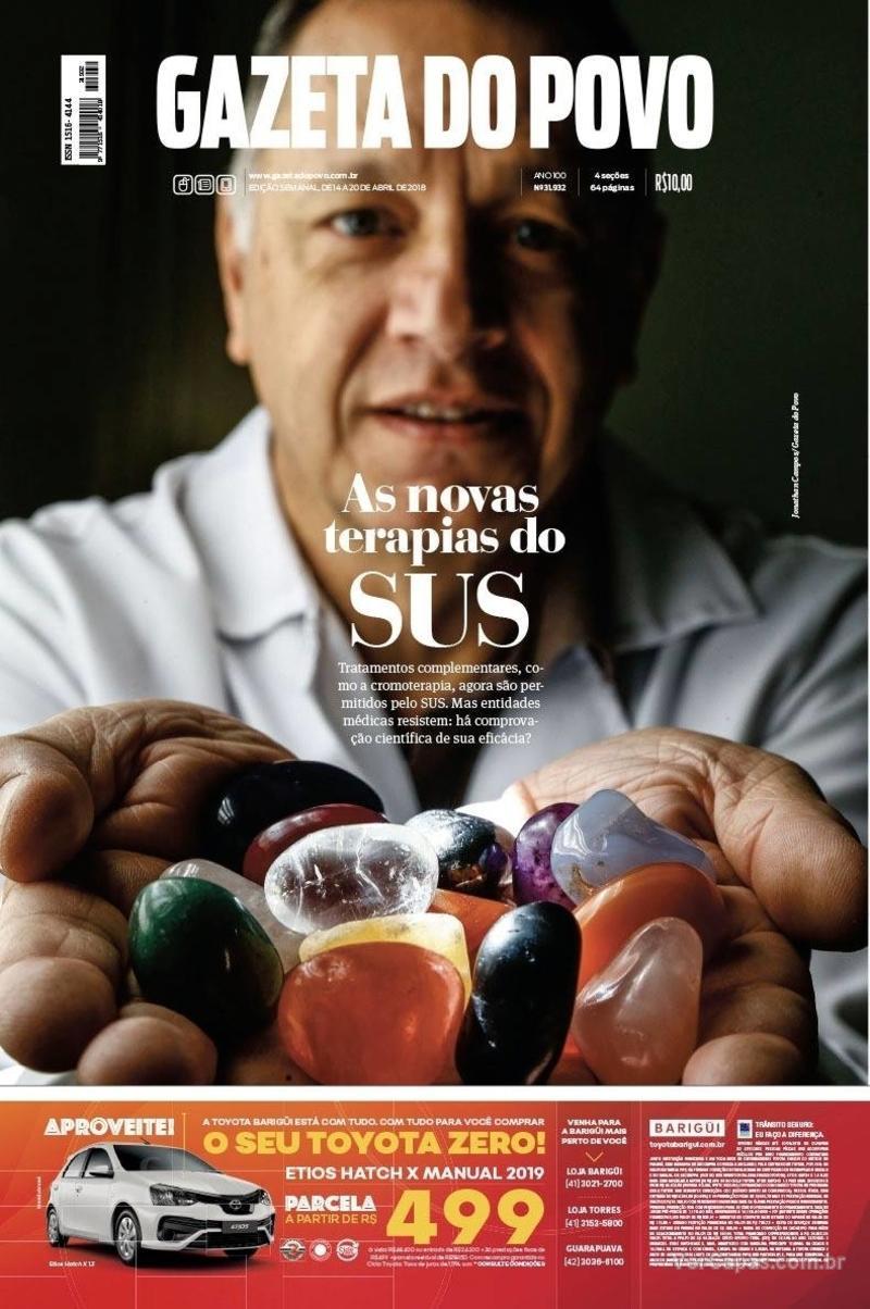 Capa do jornal Gazeta do Povo 14/04/2018