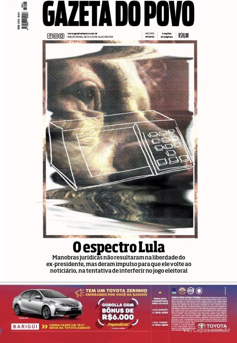 Capa jornal Gazeta do Povo 14/07/2018