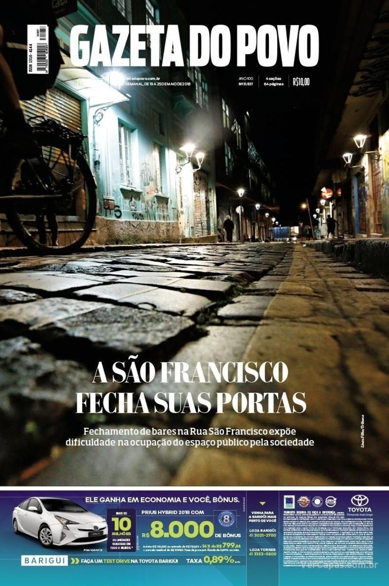 Capa jornal Gazeta do Povo 19/05/2018